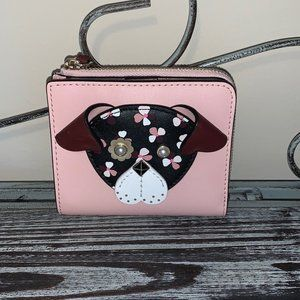 Kate Spade Cameron L-Zip Floral Pup Wallet NWT